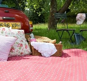 Romantische Picknickdecke Rote Punkte